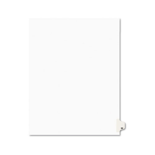 Preprinted Legal Exhibit Side Tab Index Dividers, Avery Style, 10-Tab, 50, 11 x 8.5, White, 25/Pack, (1050). Picture 1