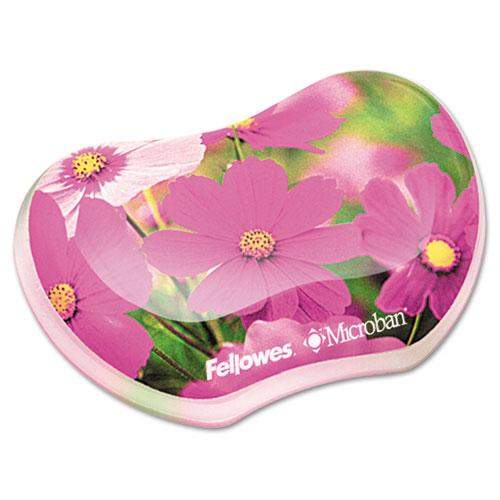 Fellowes Gel Wrist Rest, Photo, 4 7/8 x 3 7/16, Pink Flowers