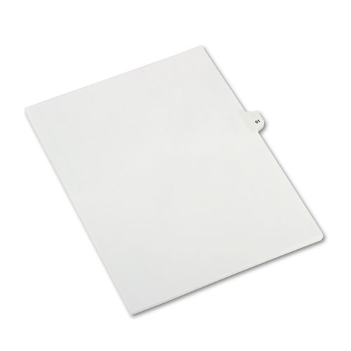 Preprinted Legal Exhibit Side Tab Index Dividers, Avery Style, 10-Tab, 61, 11 x 8.5, White, 25/Pack, (1061). Picture 2
