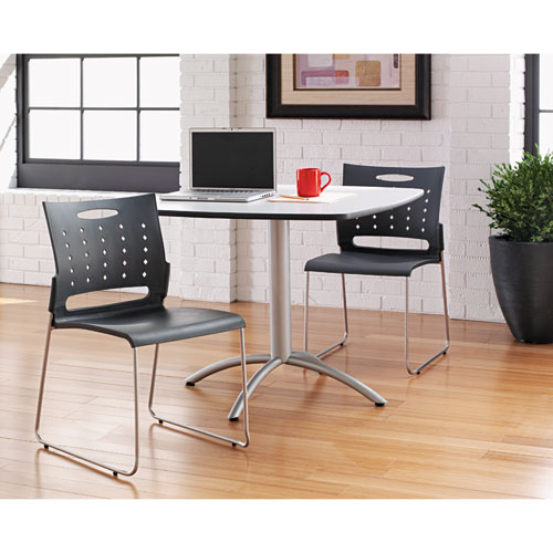 Alera Continental Series Plastic Perforated Back Stack Chair, Charcoal Gray Seat/Back, Gunmetal Gray Base, 4/Carton. Picture 7