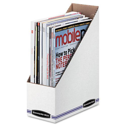 Corrugated Cardboard Magazine File, 4 x 9 1/4 x 11 3/4, White, 12/Carton. Picture 1
