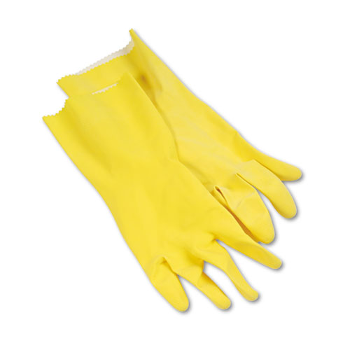 Flock-Lined Latex Cleaning Gloves, Large, Yellow, 12 Pairs. Picture 1