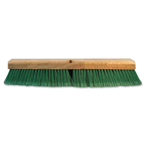 """Push Broom Head, 3"""" Green Flagged Recycled PET Plastic, 24"""". Picture 1"""