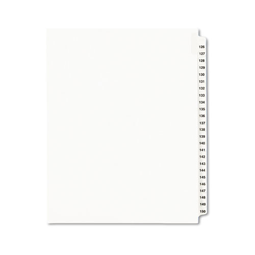 Preprinted Legal Exhibit Side Tab Index Dividers, Avery Style, 25-Tab, 126 to 150, 11 x 8.5, White, 1 Set, (1335). Picture 1