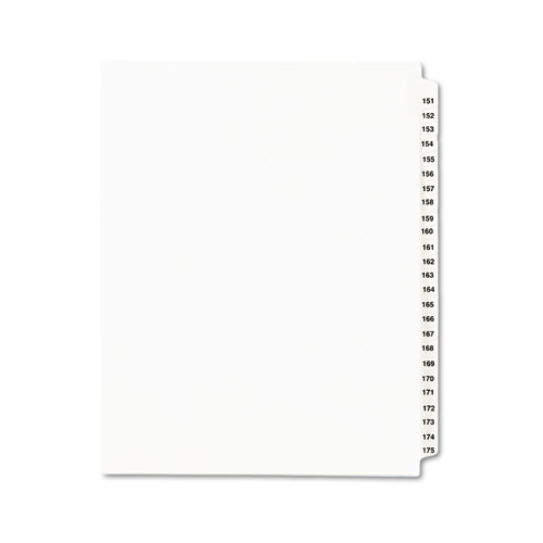 Preprinted Legal Exhibit Side Tab Index Dividers, Avery Style, 25-Tab, 151 to 175, 11 x 8.5, White, 1 Set, (1336). Picture 1