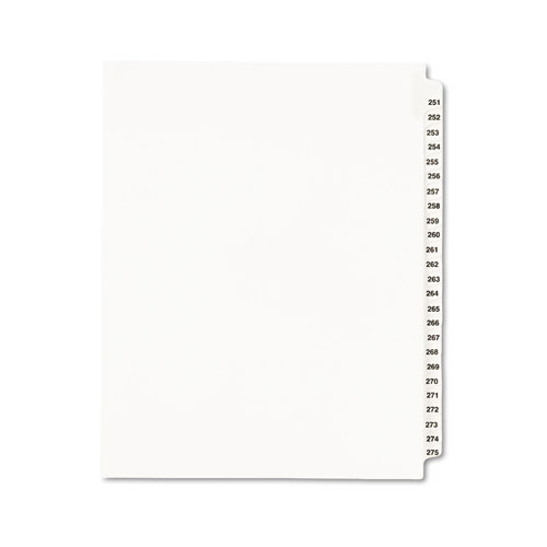 Preprinted Legal Exhibit Side Tab Index Dividers, Avery Style, 25-Tab, 251 to 275, 11 x 8.5, White, 1 Set, (1340). Picture 1