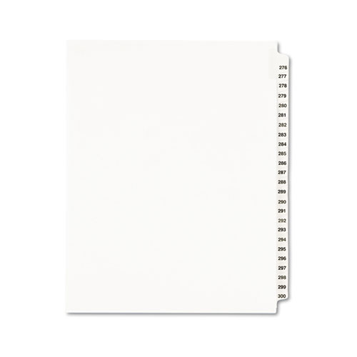 Preprinted Legal Exhibit Side Tab Index Dividers, Avery Style, 25-Tab, 276 to 300, 11 x 8.5, White, 1 Set, (1341). Picture 1