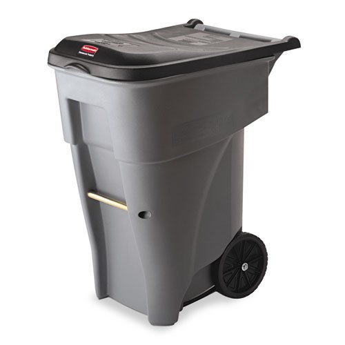 Brute Rollout Heavy-Duty Waste Container, Square, Polyethylene, 65 gal, Gray. Picture 1