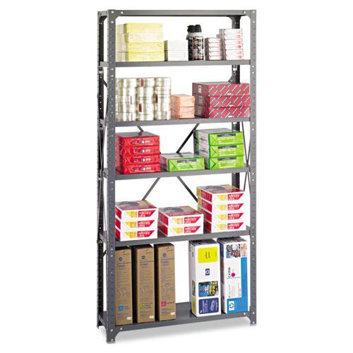 Commercial Steel Shelving Unit, Six-Shelf, 36w x 12d x 75h, Dark Gray. Picture 1