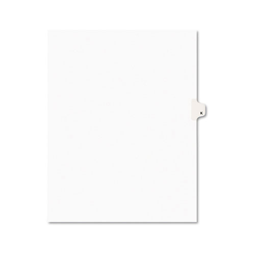 Preprinted Legal Exhibit Side Tab Index Dividers, Avery Style, 26-Tab, K, 11 x 8.5, White, 25/Pack, (1411). Picture 1
