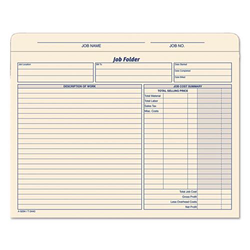 Job Folder, Straight Tab, Letter Size, Manila, 20/Pack. Picture 1