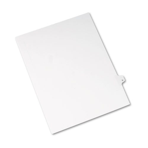 Preprinted Legal Exhibit Side Tab Index Dividers, Avery Style, 26-Tab, U, 11 x 8.5, White, 25/Pack, (1421). Picture 2