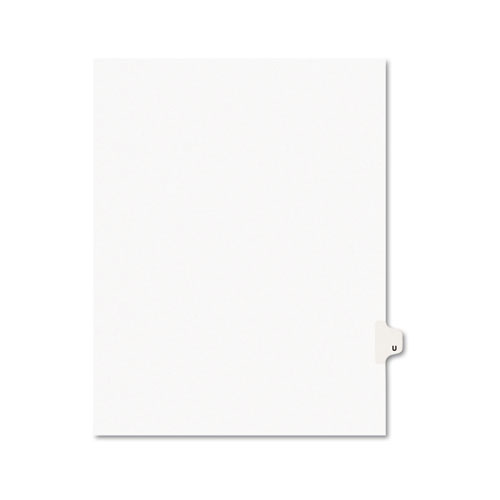 Preprinted Legal Exhibit Side Tab Index Dividers, Avery Style, 26-Tab, U, 11 x 8.5, White, 25/Pack, (1421). Picture 1
