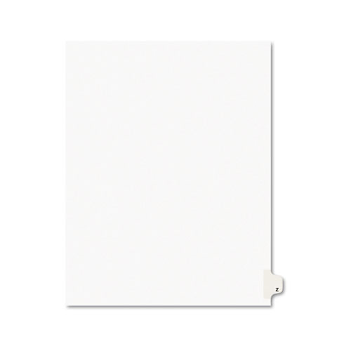 Preprinted Legal Exhibit Side Tab Index Dividers, Avery Style, 26-Tab, Z, 11 x 8.5, White, 25/Pack, (1426). Picture 1