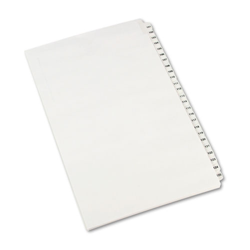 Preprinted Legal Exhibit Side Tab Index Dividers, Avery Style, 25-Tab, 101 to 125, 14 x 8.5, White, 1 Set. Picture 1