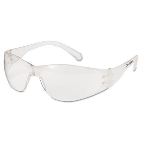 Checklite Safety Glasses, Clear Frame, Clear Lens. Picture 1