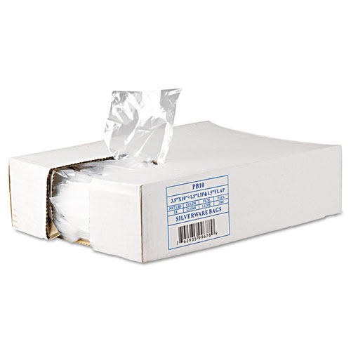 """Silverware Bags, 0.7 mil, 3.5"""" x 1.5"""", Clear, 2,000/Carton. Picture 1"""