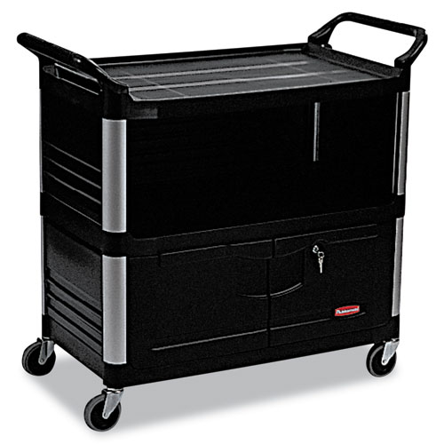 Xtra Equipment Cart, 300-lb Capacity, Three-Shelf, 20.75w x 40.63d x 37.8h, Black. Picture 1