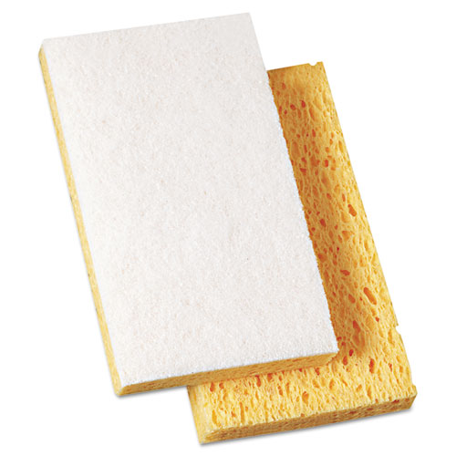 """Scrubbing Sponge, Light Duty, 3.6 x 6.1, 0.7"""" Thick, Yellow/White, Individually Wrapped, 20/Carton. Picture 1"""