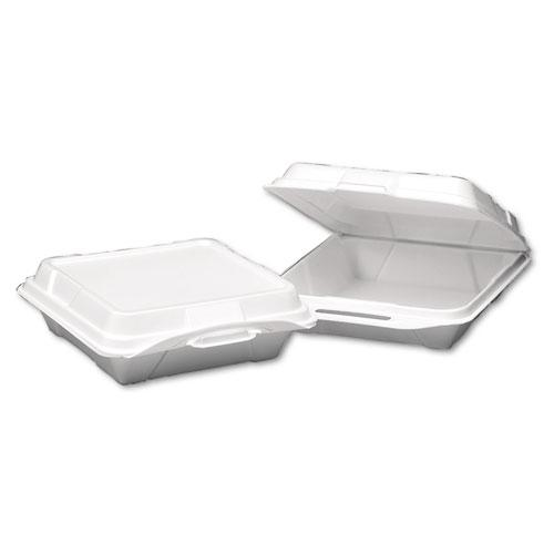 Foam Hinged Carryout Container, 1-Compartment, 9-1/4x9-1/4x3, White, 100/Bag. Picture 1