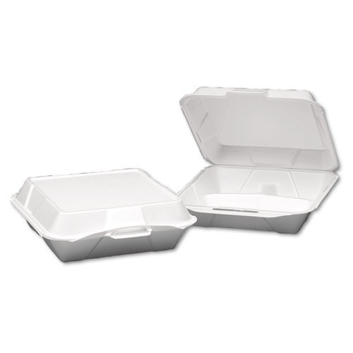 Foam Hinged Container, 3-Compartment, Jumbo, 10-1/4x9-1/4x3-1/4, White, 200/Carton. Picture 1