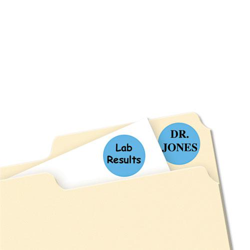 """Printable Self-Adhesive Removable Color-Coding Labels, 0.75"""" dia., Light Blue, 24/Sheet, 42 Sheets/Pack, (5461). Picture 2"""