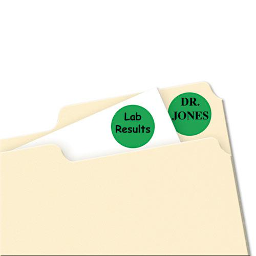 """Printable Self-Adhesive Removable Color-Coding Labels, 0.75"""" dia., Green, 24/Sheet, 42 Sheets/Pack, (5463). Picture 2"""