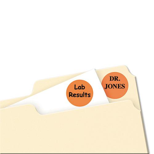 """Printable Self-Adhesive Removable Color-Coding Labels, 0.75"""" dia., Orange, 24/Sheet, 42 Sheets/Pack, (5465). Picture 2"""