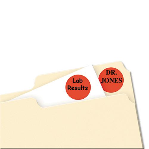 """Printable Self-Adhesive Removable Color-Coding Labels, 0.75"""" dia., Neon Red, 24/Sheet, 42 Sheets/Pack, (5467). Picture 2"""
