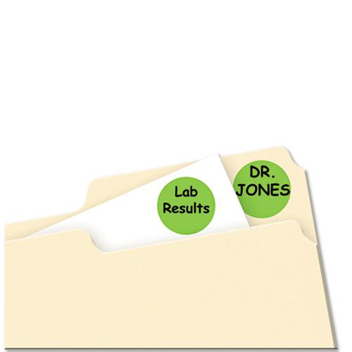 """Printable Self-Adhesive Removable Color-Coding Labels, 0.75"""" dia., Neon Green, 24/Sheet, 42 Sheets/Pack, (5468). Picture 2"""