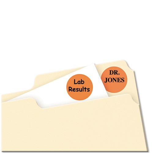 """Printable Self-Adhesive Removable Color-Coding Labels, 0.75"""" dia., Neon Orange, 24/Sheet, 42 Sheets/Pack, (5471). Picture 2"""
