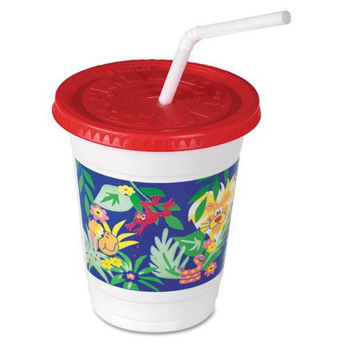 Plastic Kids' Cups with Lids/Straws, 12 oz, Jungle Print. Picture 2