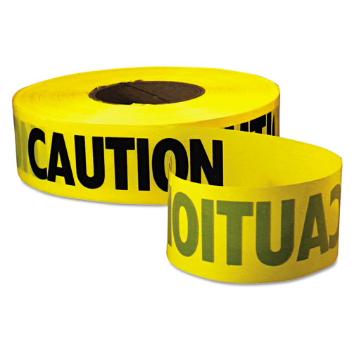 """Caution Barricade Tape, """"Caution"""" Text, 3"""" x 1000ft, Yellow/Black. Picture 1"""