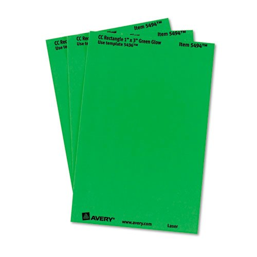 Printable Self-Adhesive Removable Color-Coding Labels, 1 x 3, Neon Green, 5/Sheet, 40 Sheets/Pack, (5494). Picture 3