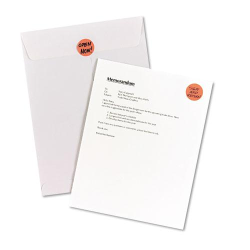 """Printable Self-Adhesive Removable Color-Coding Labels, 1.25"""" dia., Neon Red, 8/Sheet, 50 Sheets/Pack, (5497). Picture 3"""
