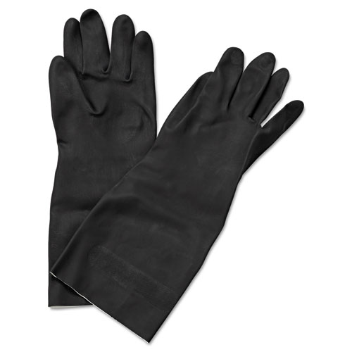 "Neoprene Flock-Lined Gloves, Long-Sleeved, 12"", Medium, Black, Dozen. Picture 1"