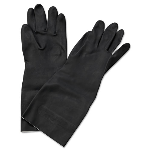 "Neoprene Flock-Lined Gloves, Long-Sleeved, 12"", X-Large, Black, Dozen. Picture 1"