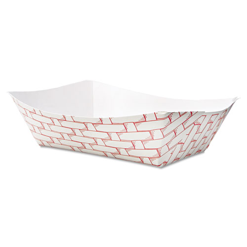 Paper Food Baskets, 3lb Capacity, Red/White, 500/Carton. Picture 1