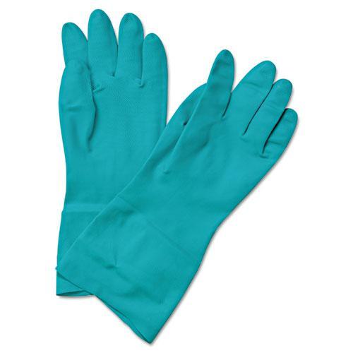 Flock-Lined Nitrile Gloves, Medium, Green, Dozen. Picture 1