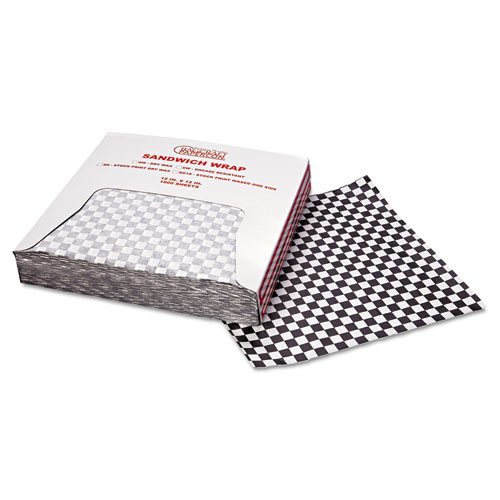 Grease-Resistant Paper Wraps and Liners, 12 x 12, Black Check, 1000/Box, 5 Boxes/Carton. Picture 3