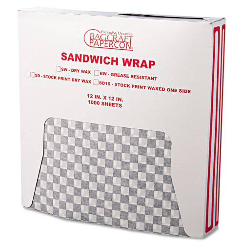 Grease-Resistant Wrap/Liners, 12 x 12, Black Checker, 1000/Box, 5 Boxes/Carton