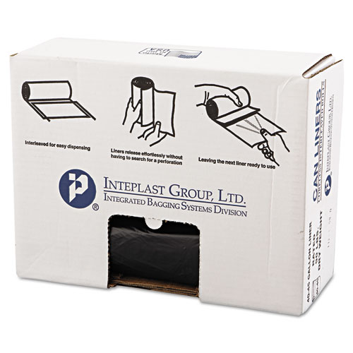 High-Density Can Liner, 40 x 46, 45gal, 19mic, Black, 25/Roll, 6 Rolls/Carton. Picture 1