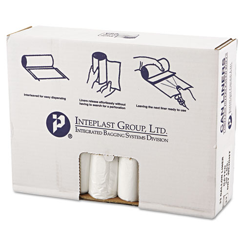 """High-Density Commercial Can Liners Value Pack, 33 gal, 10 microns, 33"""" x 39"""", Clear, 500/Carton. Picture 1"""