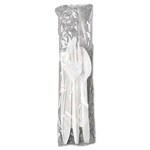 Wrapped Cutlery Kit, Fork/Knife/Spoon/Napkin, White, 250/Carton. Picture 2
