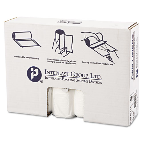 High-Density Can Liner, 33 x 40, 33gal, 16mic, Clear, 25/Roll, 10 Rolls/Carton. Picture 1
