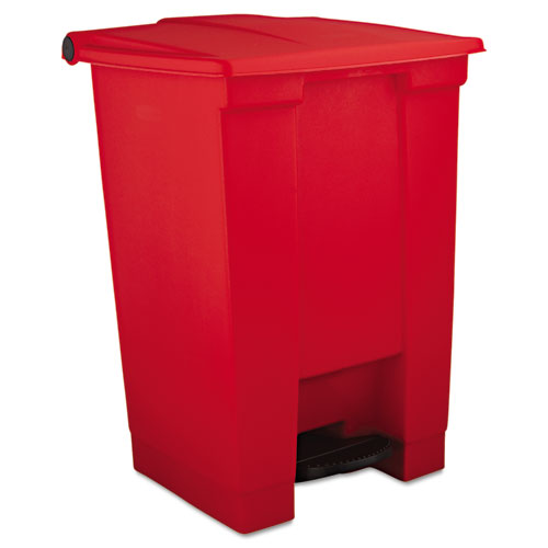 Indoor Utility Step-On Waste Container, Square, Plastic, 12 gal, Red. Picture 1