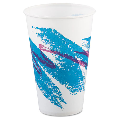Jazz Waxed Paper Cold Cups, 12oz, Tide Design, 2000/Carton. Picture 1