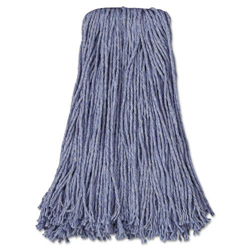 Mop Head, Standard Head, Cotton/Synthetic Fiber, Cut-End, #24, Blue, 12/Carton. Picture 1