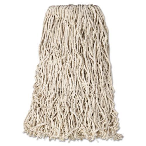 """Premium Cut-End Cotton Wet Mop Head, 24oz, White, 1"""" Orange Band, 12/Carton. Picture 1"""