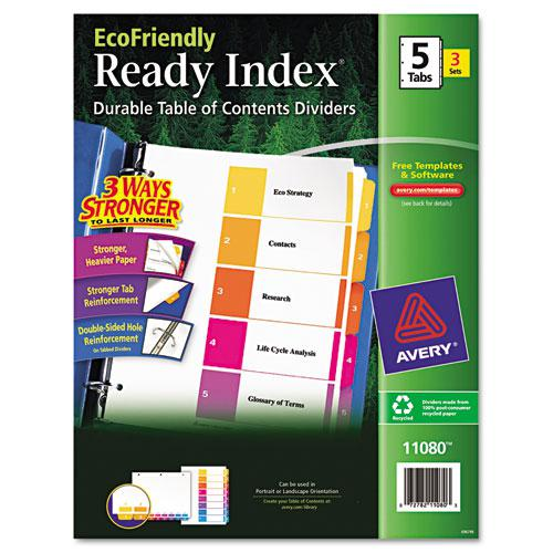 Customizable Table of Contents Ready Index Dividers with Multicolor Tabs, 5-Tab, 1 to 5, 11 x 8.5, White, 3 Sets. Picture 1